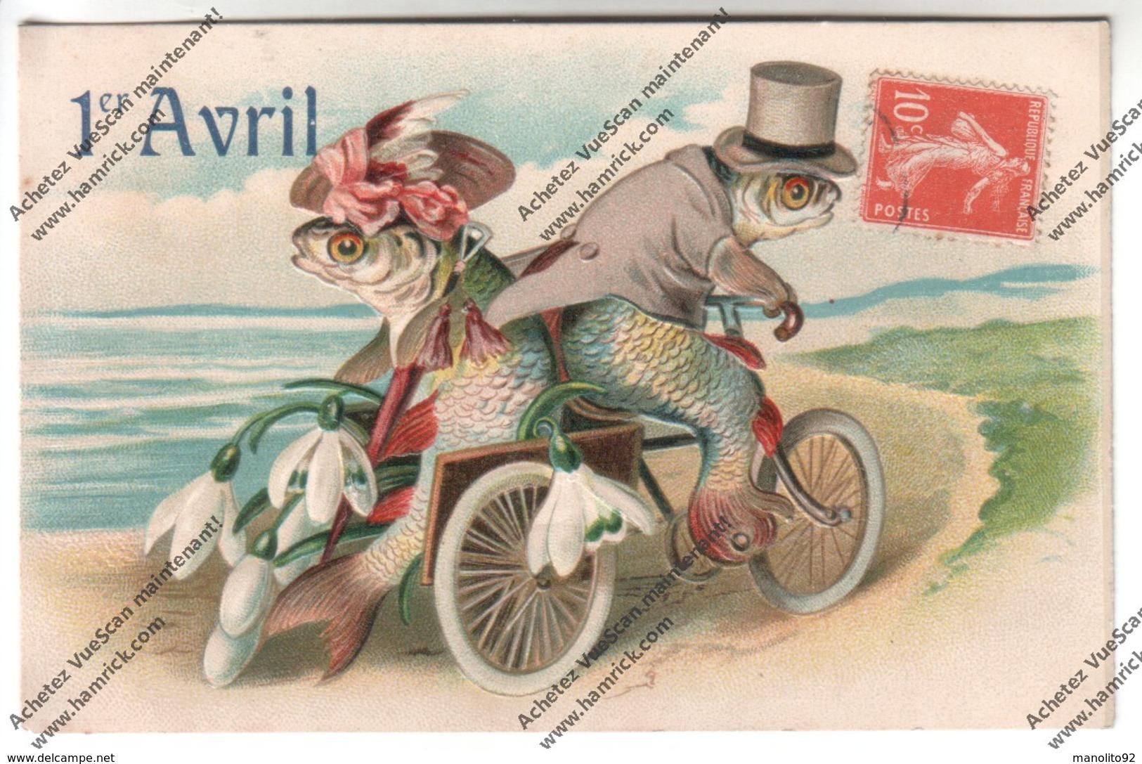 Belle CPA Gauffrée Poisson D'Avril 1908 : Couple De Poissons Humanisés Circulant Sur Triporteur - 1er Avril - Poisson D'avril