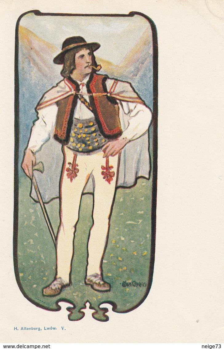 Carte Postale Ancienne Illustrée Par Wilhelm Wachtel - Vers 1900 - Homme - Pays De L'Est - Illustrateurs & Photographes