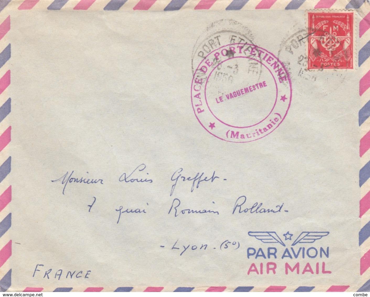 LETTRE .  1956. FM. PLACE DE PORT-ETIENNE MAURITANIE / 3 - Postmark Collection (Covers)