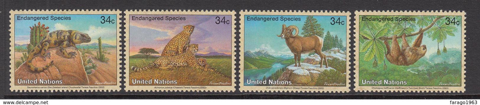 2002 UN New York Endangered Animals Sloth, Sheep, Cheetah, Chuckwalla Set Of 4  MNH - New York – UN Headquarters