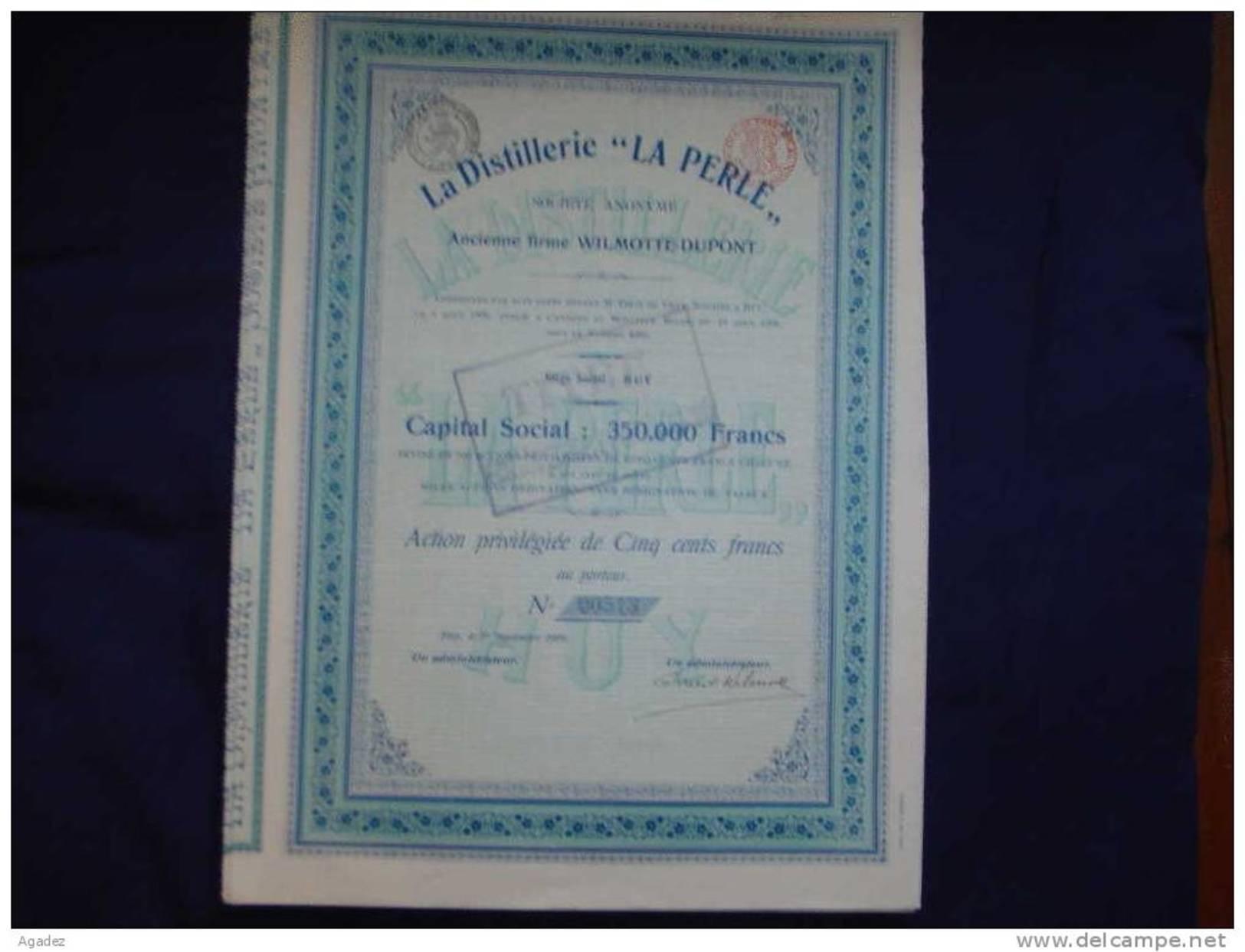 """Action """"La Distillerie""""La Perle""""(anciennement Firme Wilmotte Dupont) - Industrie"""