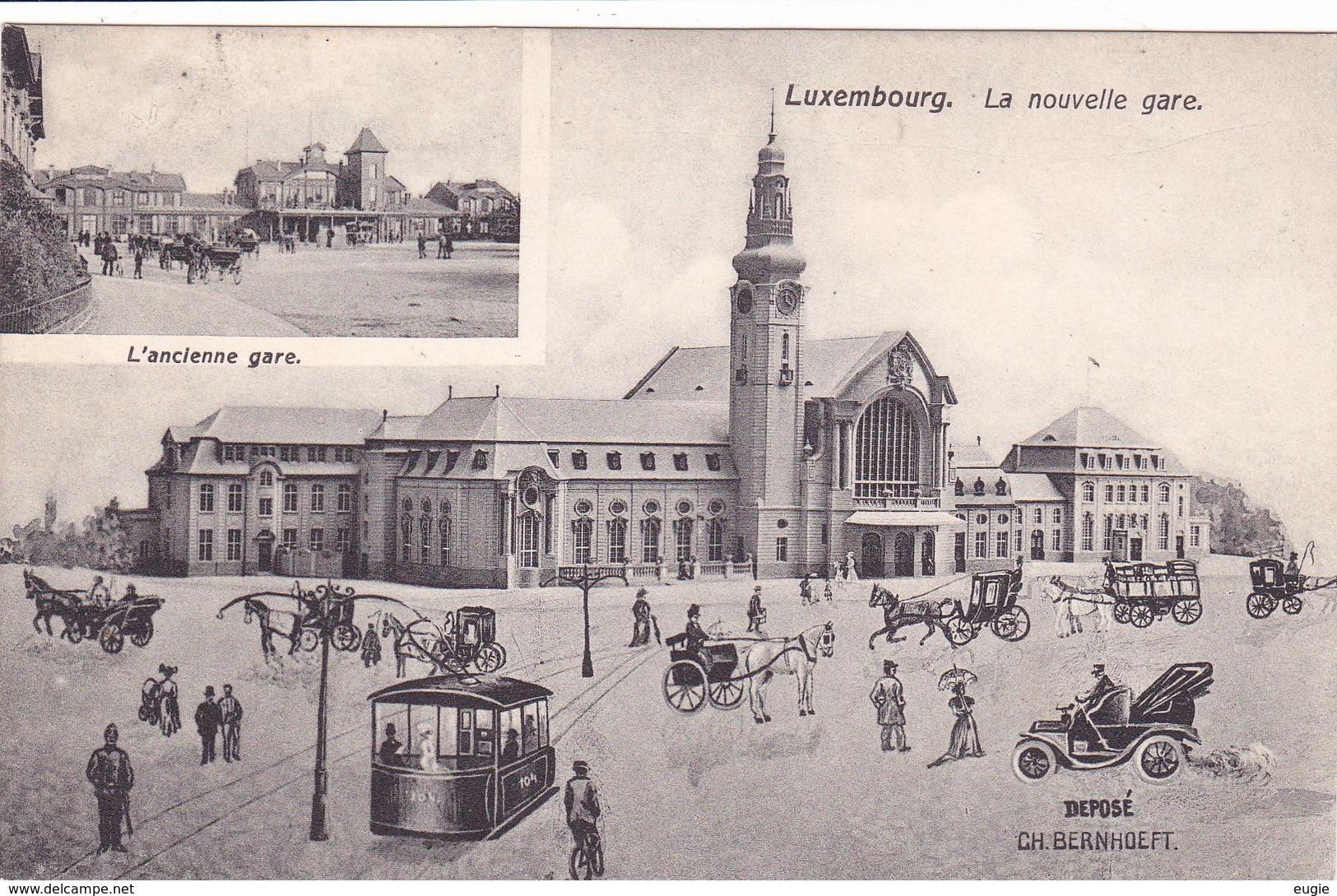 839/  Luxembourg, La Nouvelle Gare, L'ancienne Gare, Tram, Paard En Koets - Luxembourg - Ville