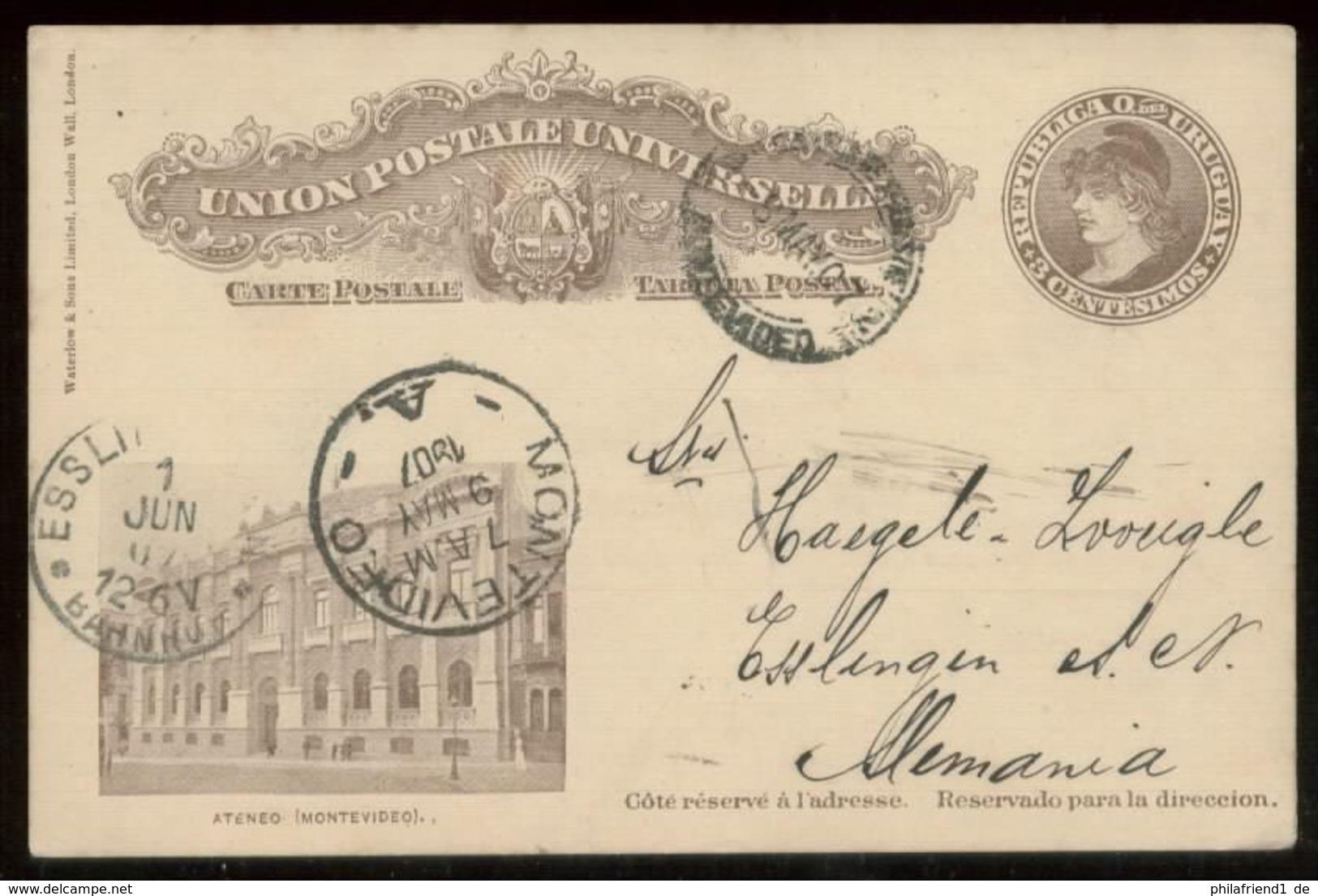 14759 Uruguay GS Karte Motevideo - Esslingen 1907 , Bedarfserhaltung. - Uruguay