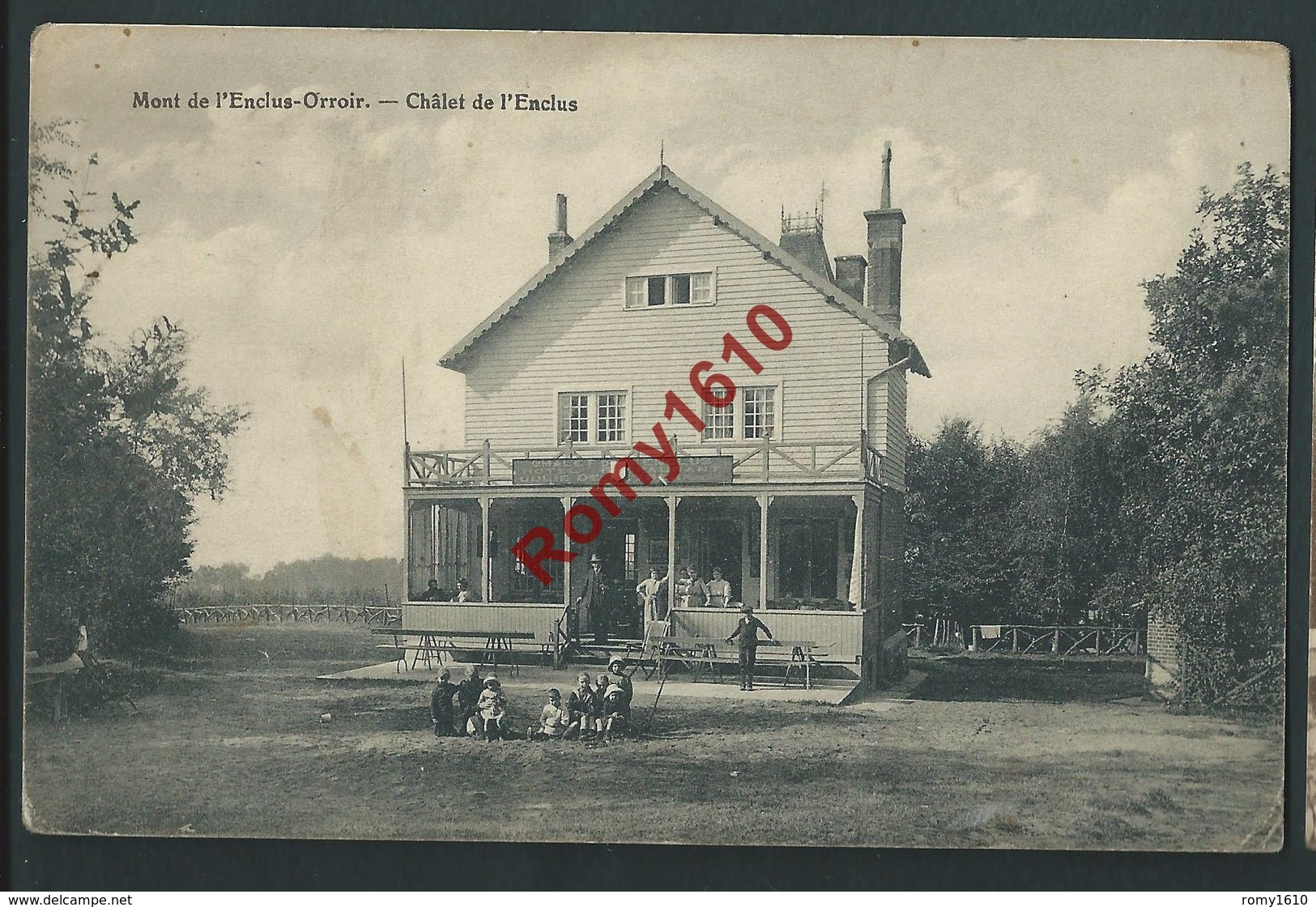 Mont -de- L'Enclus- Orroir. Chalet De L'Enclus. Animée.  1919.  2 Scans. - Mont-de-l'Enclus