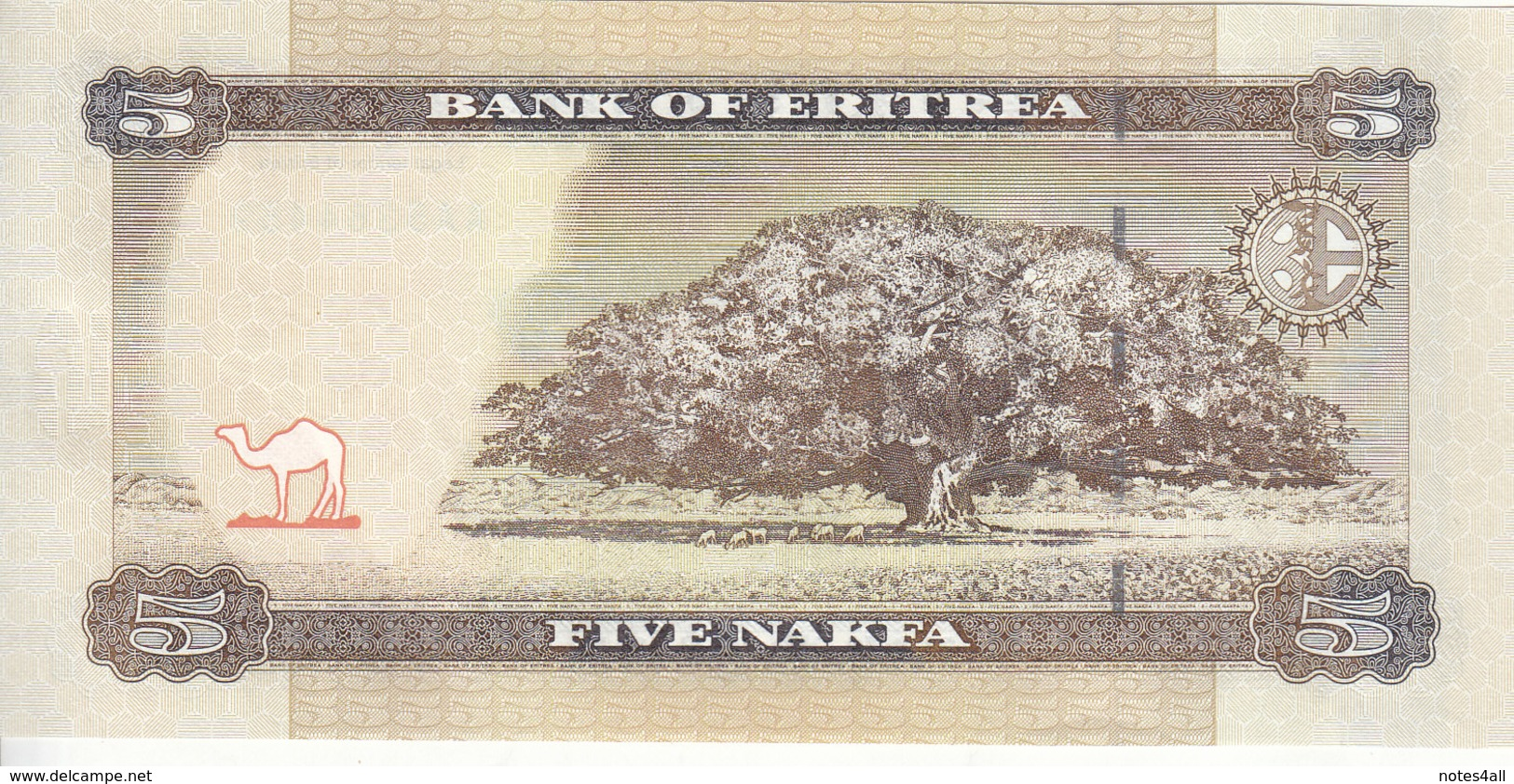 ERITREA 5 NAKFA 2015 P-14 Lot X5 UNC Notes */* - Erythrée