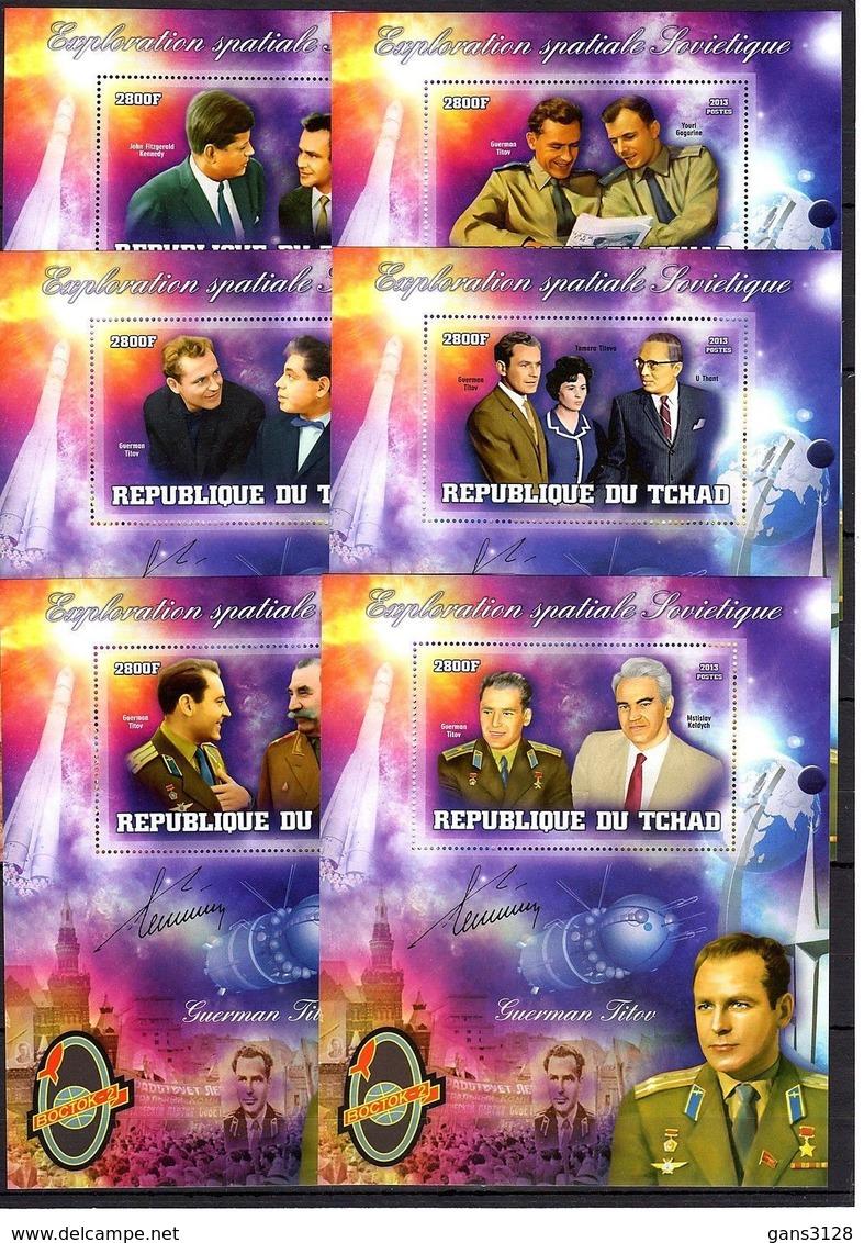 КОСМОС  ТИТОВ  2013 ГОД  15 БЛКОВ И М.ЛИСТОВ  ЧАД - Space