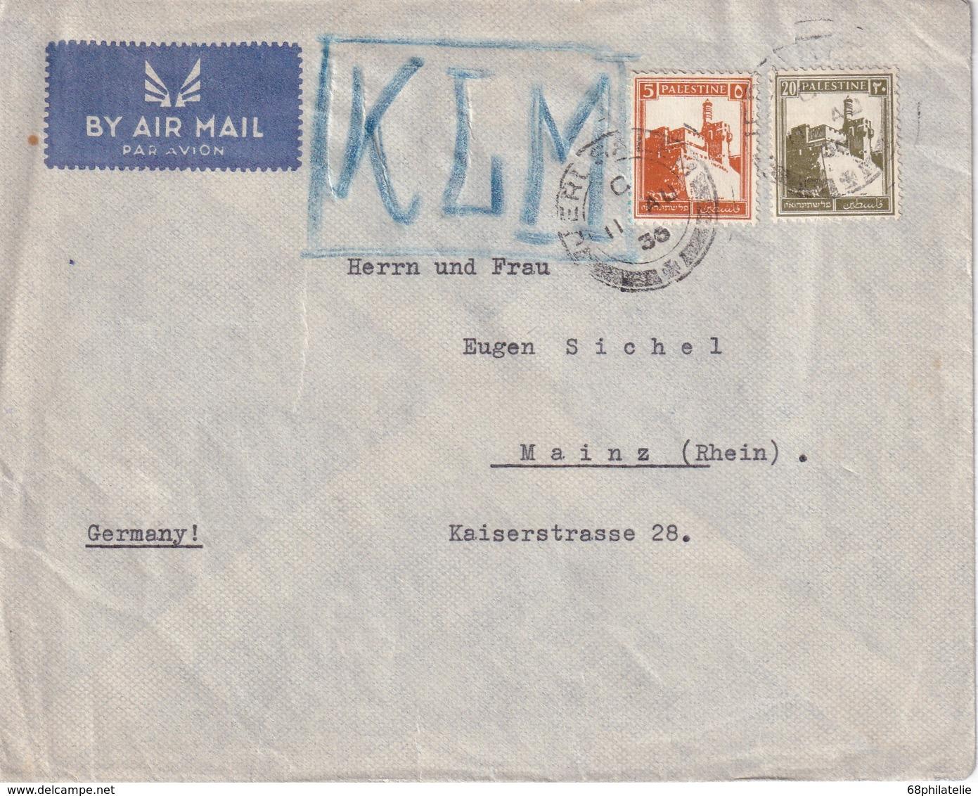 PALETINE LETTRE DE JERUSALEM  VIA KLM - Palestine