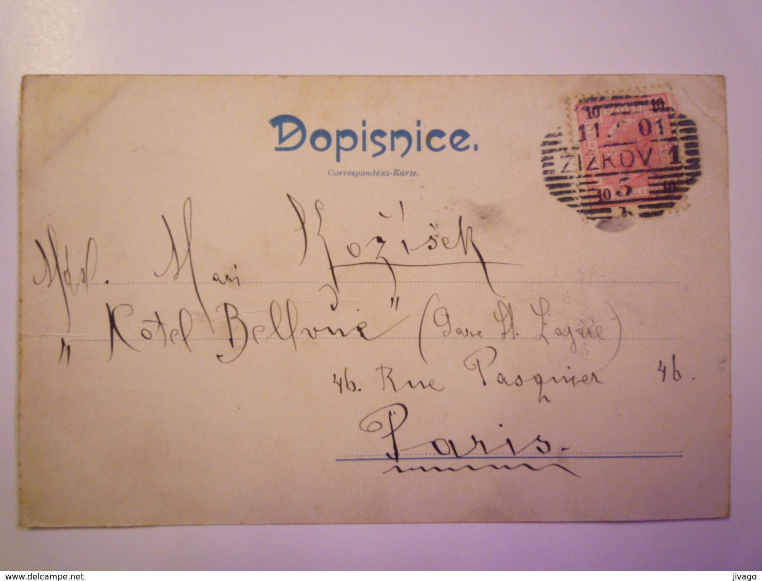 TCHEQUIE  :   POZDRAV Z KOMOROVA  -  Carte Couleur   1901  X - Tchéquie