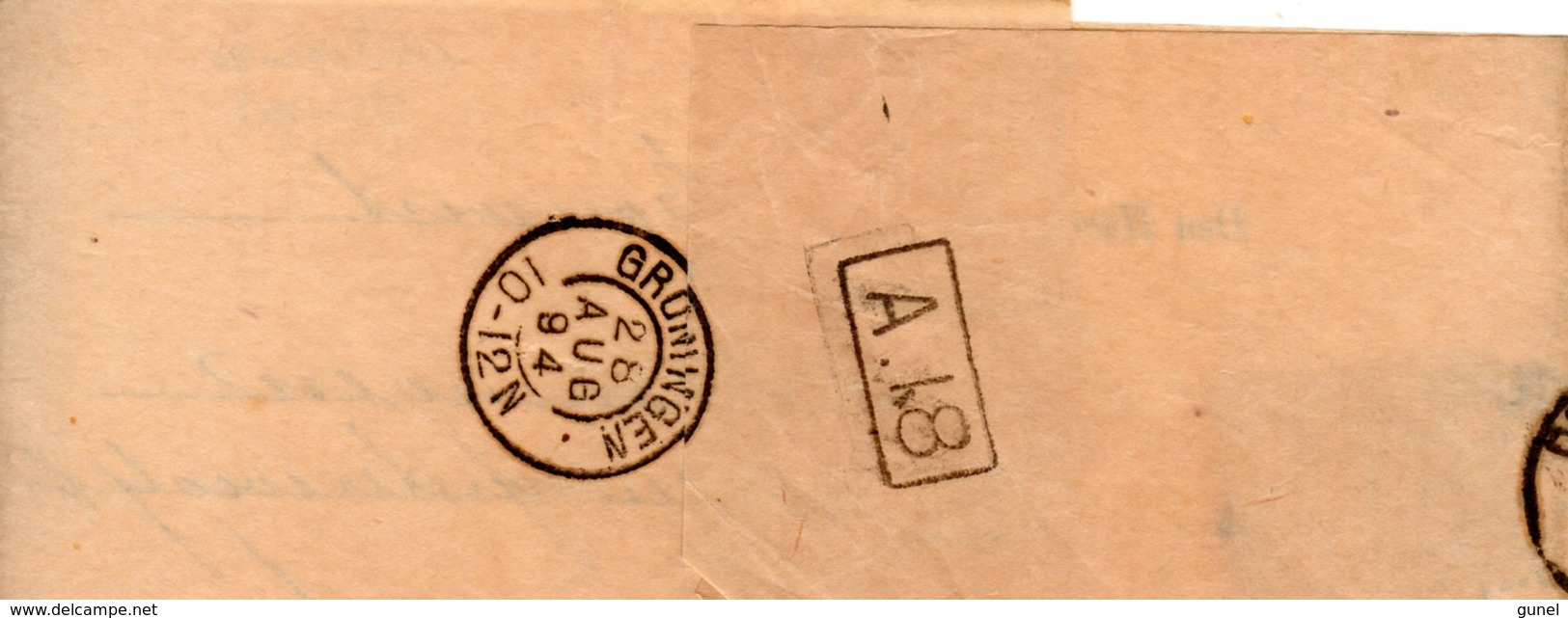28 AUG 94 Krantebandje M. Voorgedrukt Adres Van Deventer N. Groningen M. NVPH 30 - Periode 1891-1948 (Wilhelmina)