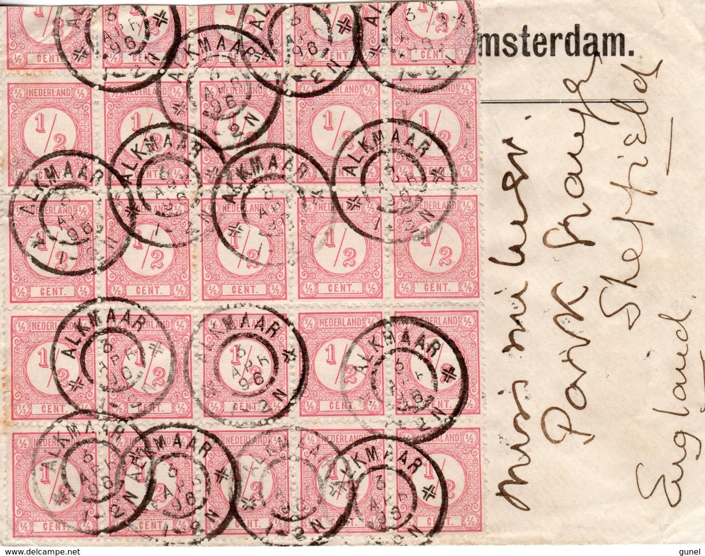 3 APR 96 Brief Alkmaar - Sheffield Met 25x NVPH30 ( Bovenste Rij Aangesneden) - Periode 1891-1948 (Wilhelmina)