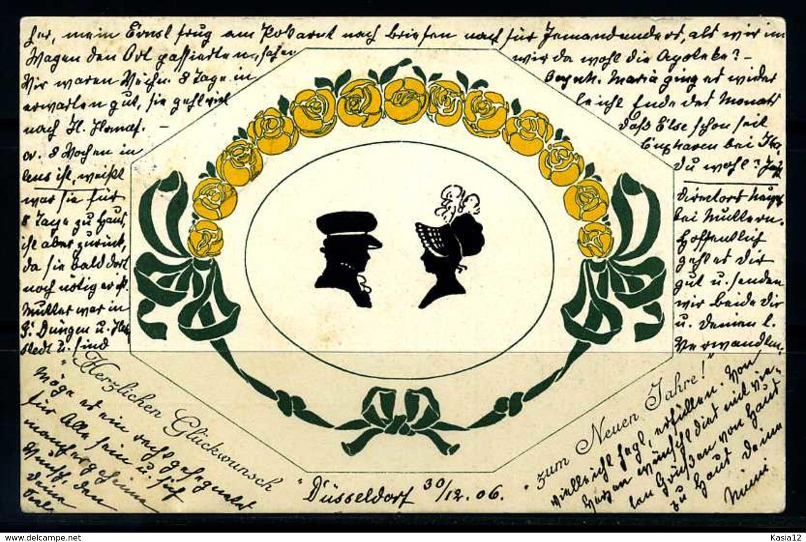 K03332)Ansichtskarte Scherenschnitt: Neujahr 1906 - Silhouettes