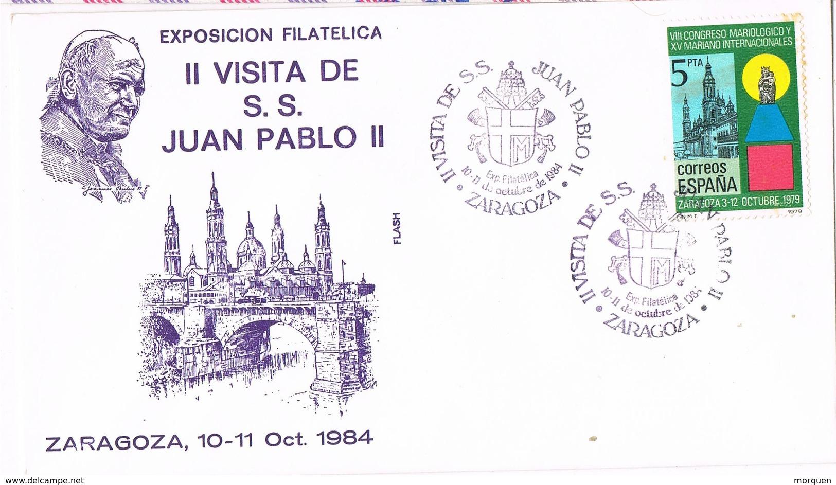 31019. Carta Exposicion ZARAGOZA 1984. Visita PAPA Juan Pablo II - 1981-90 Cartas