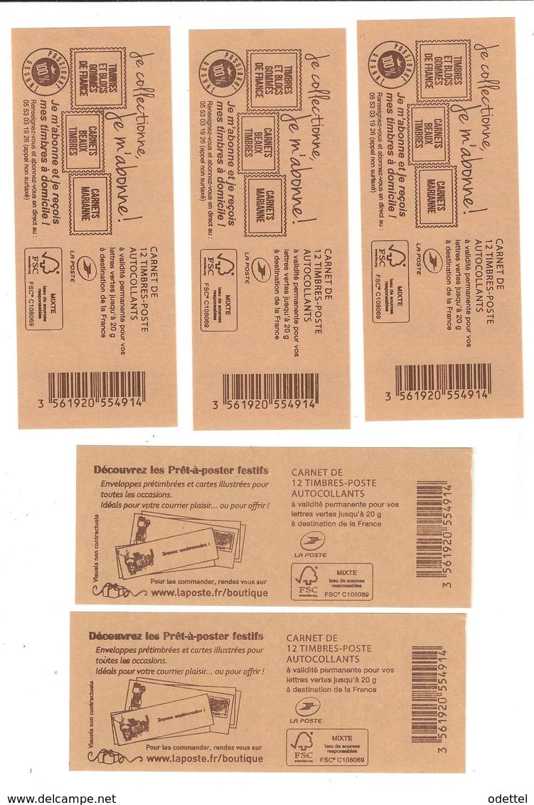 Lot De 5 Carnets Adh. De 12 TVP LV - Usage Courant