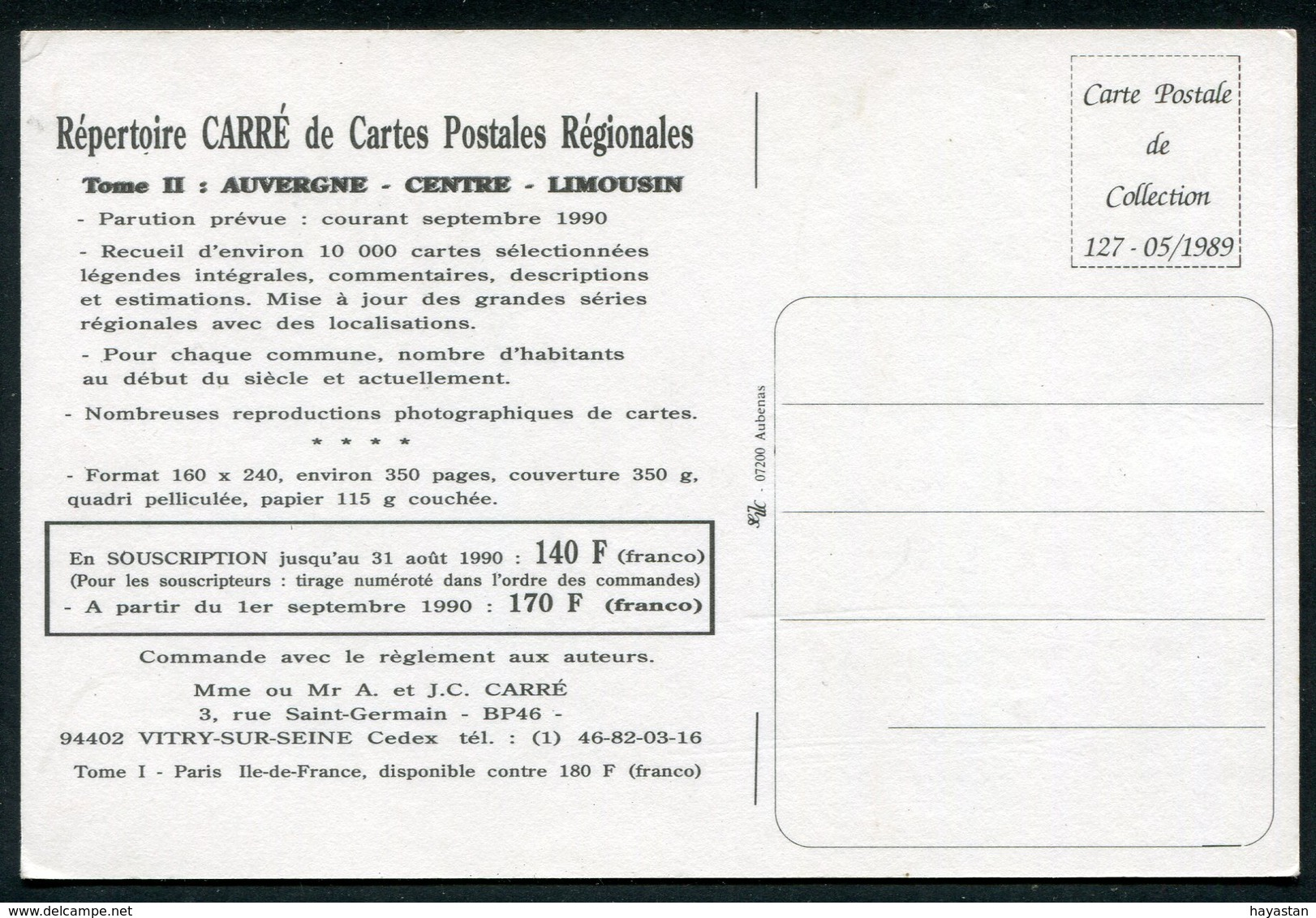 REPERTOIRE CARRE DE CARTES POSTALES REGIONALES - Français