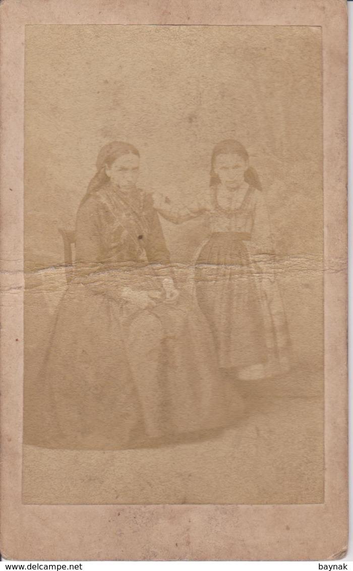 A266  -  CABINET  PHOTO,  CDV  -  1870 ~ 1890  ~  AUSTRIA, NEUNKIRCHEN,  DUNN KARTON  ~  MUTTER  / TOCHTER  ~ 10,5x6,5 - Fotos