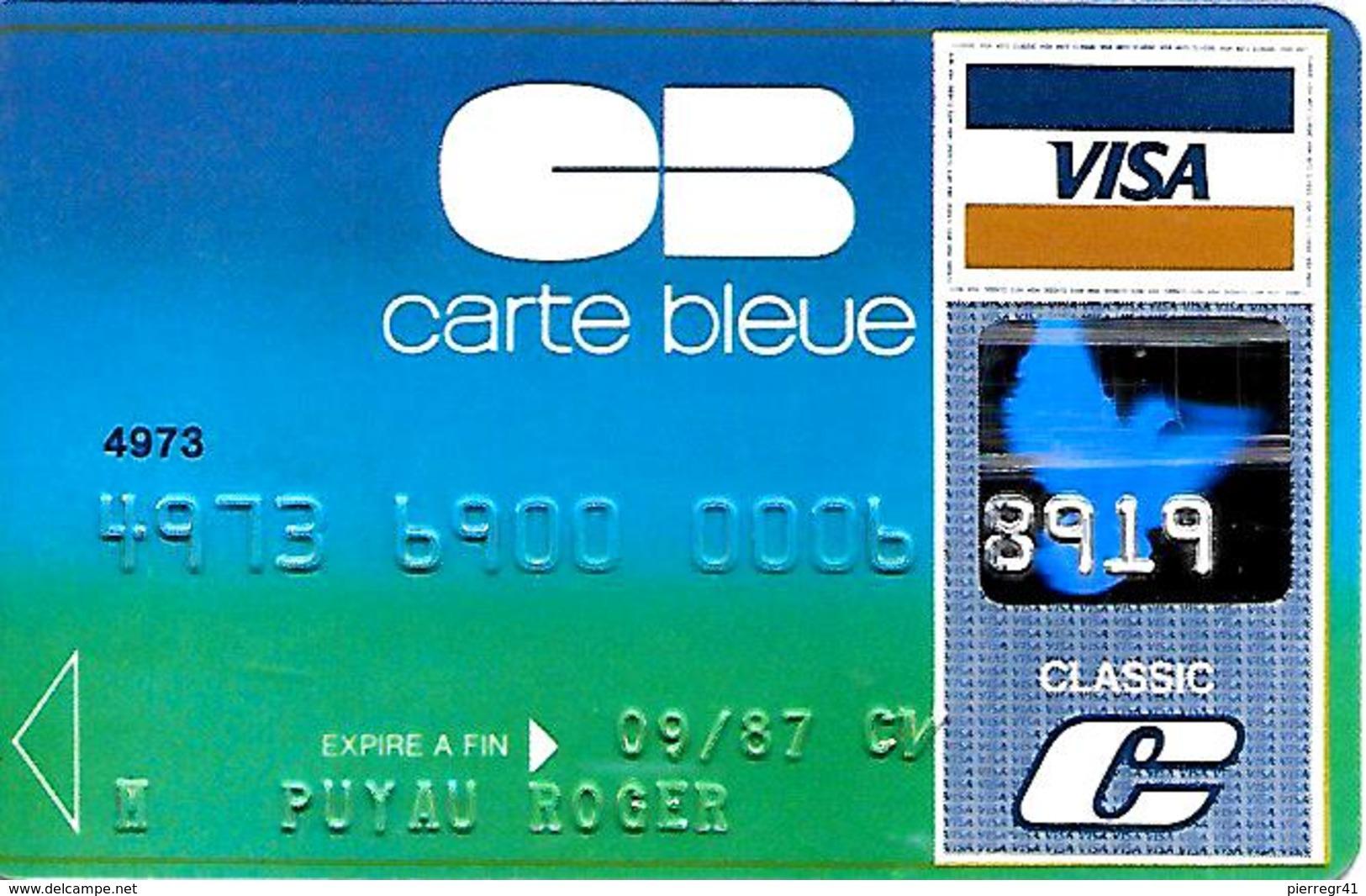 -CARTE+-MAGNETIQUE-CB-CARTE BLEUE-VISA-Groupe S.C.D.B-ExP 09/87-BULL TRANSAC 01/86-TBE-RARE - Cartes Bancaires Jetables
