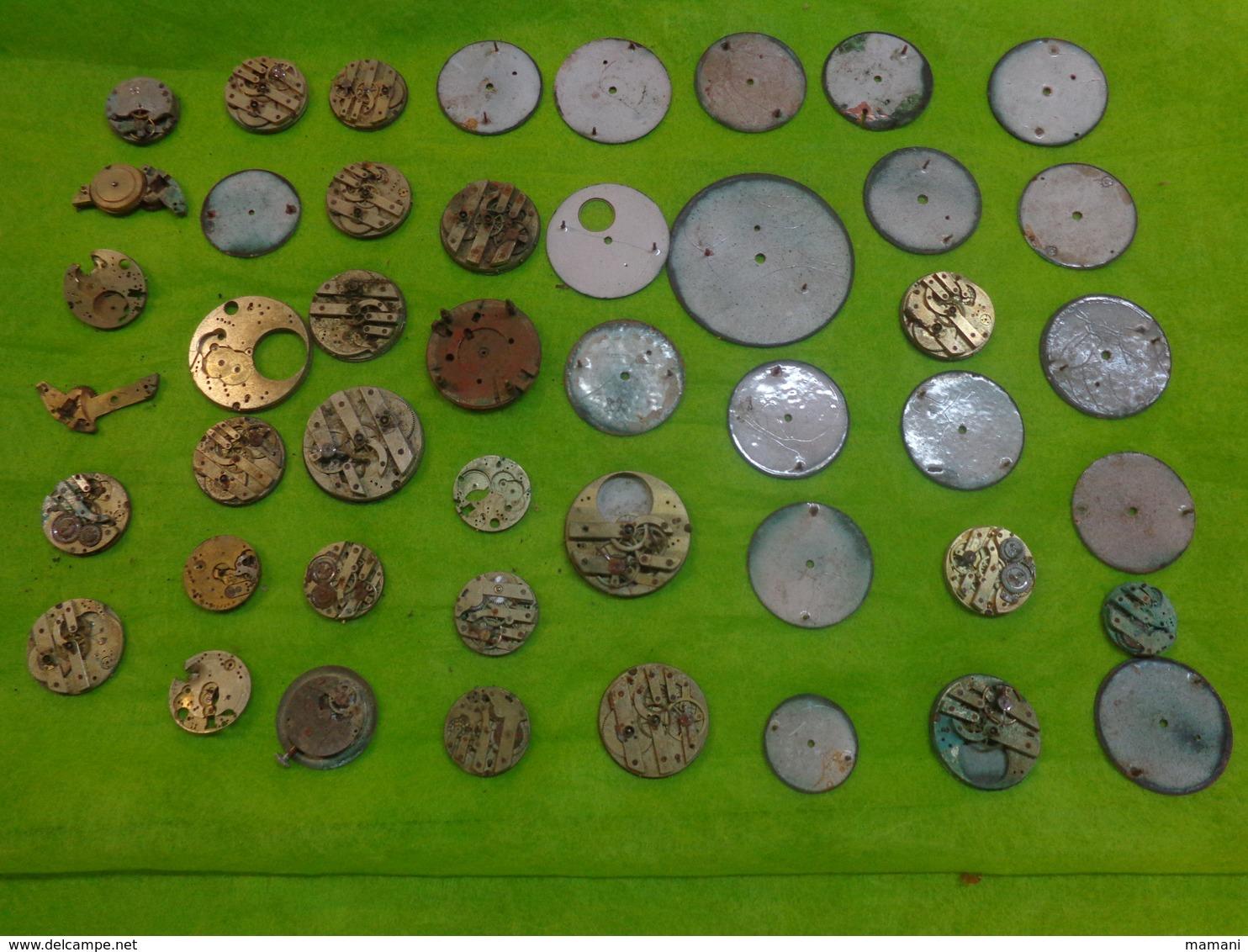 4 Lots De  Mecanismes Et Cadran De Montre Gousset Et Autres - Bijoux & Horlogerie