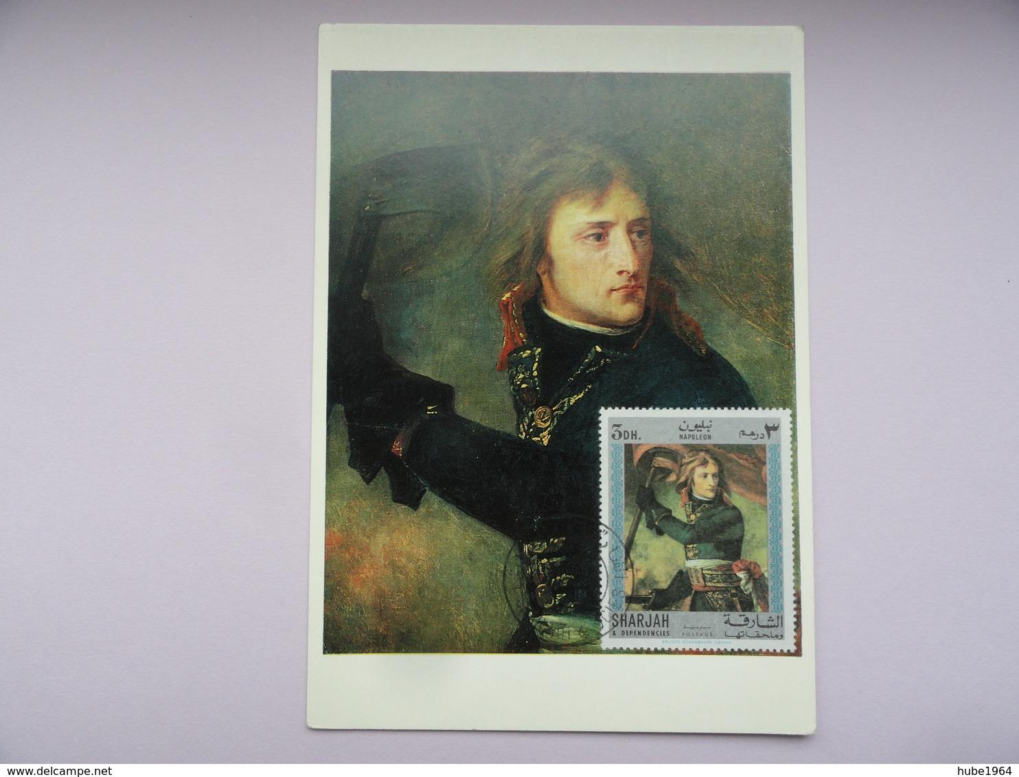 CARTE MAXIMUM CARD NAPOLEON BONAPARTE AU PONT D'ARCOLE PAR GROS SHARJAH - Künste