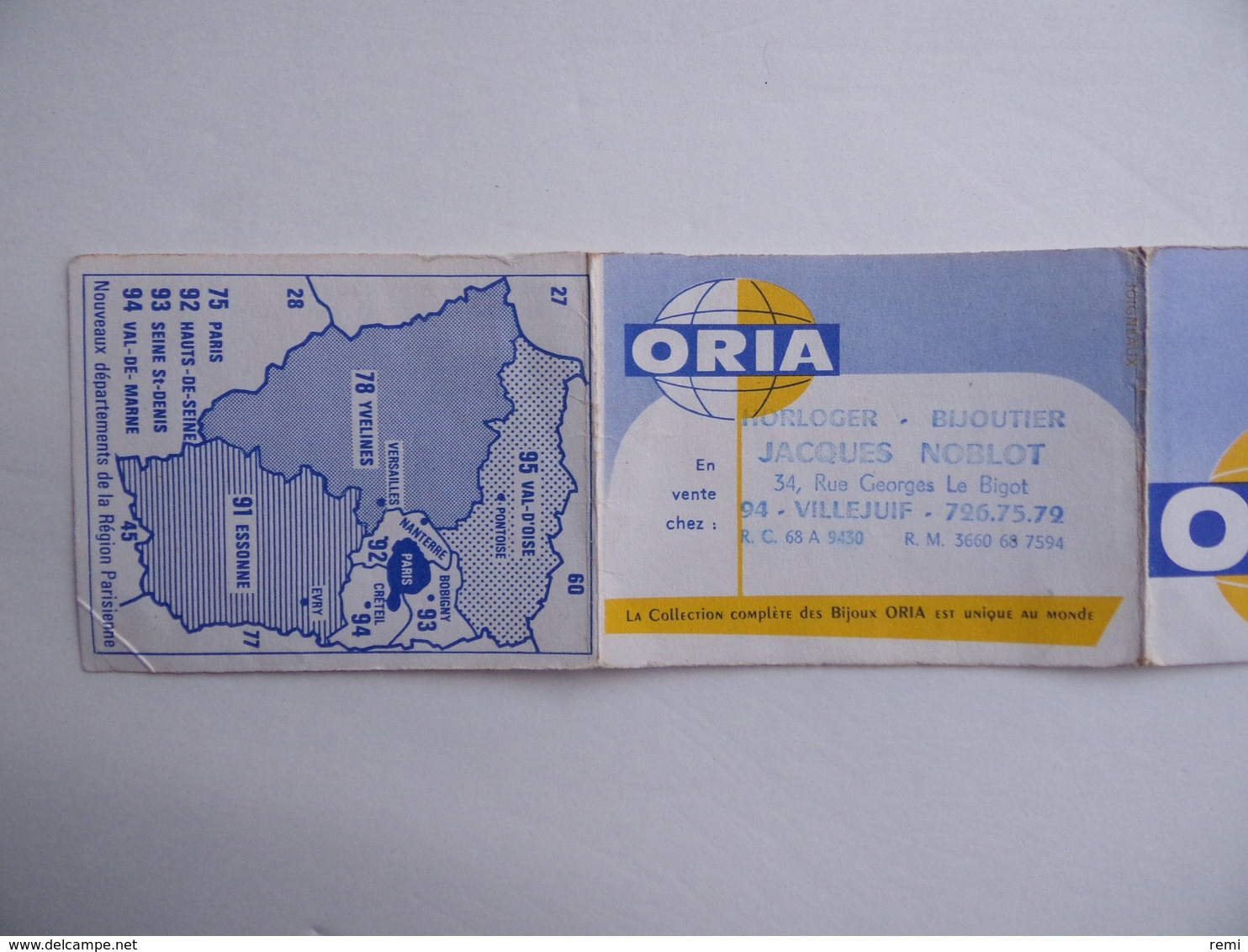 CALENDRIER De Poche 1970 BIJOUX ORIA Jacques NOBLOT Horloger Bijoutier à Villejuif 94 - Calendriers