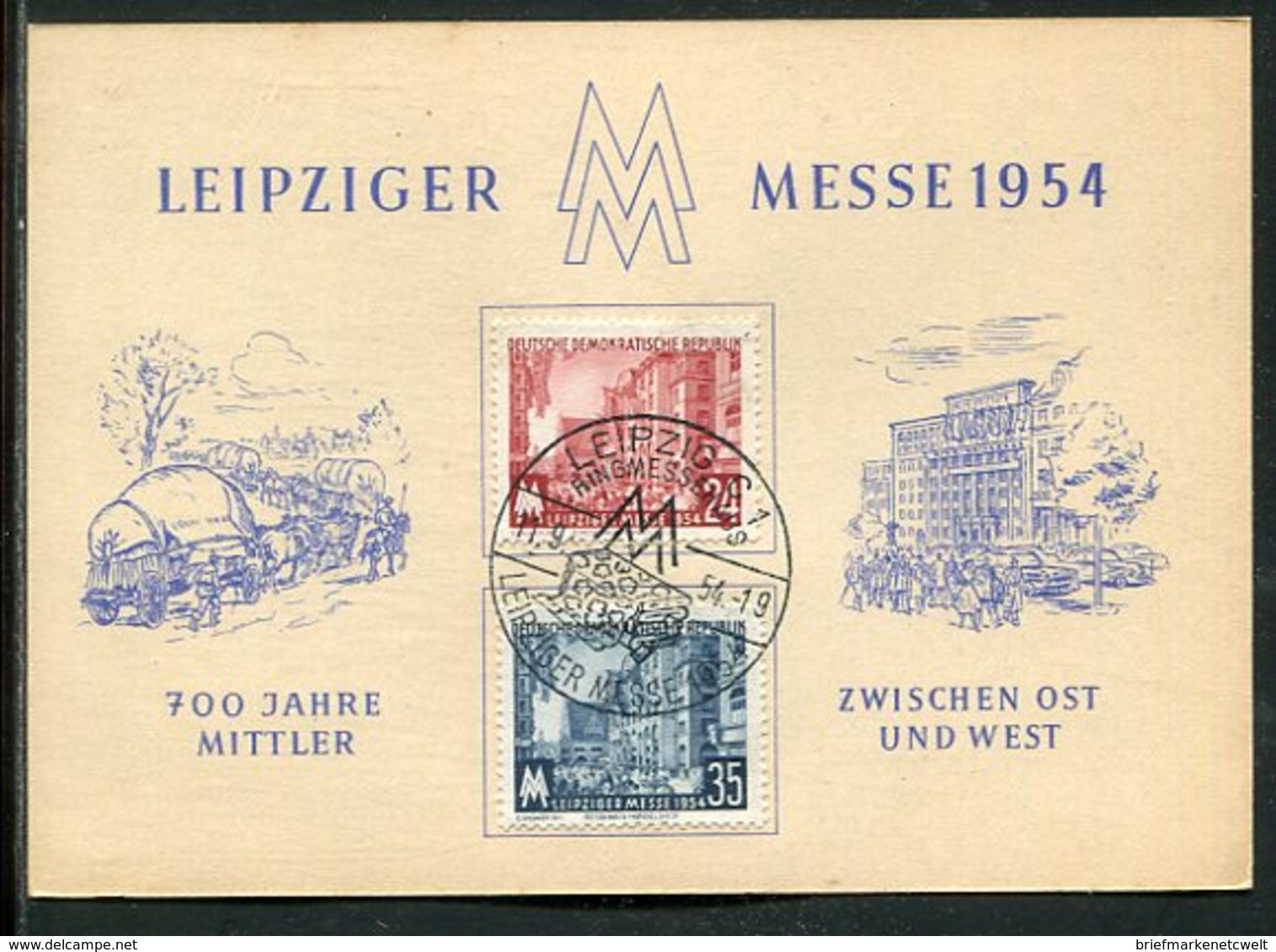 """DDR / 1954 / Ereigniskarte """"Leipziger Messe"""", SSt. (4/340) - DDR"""