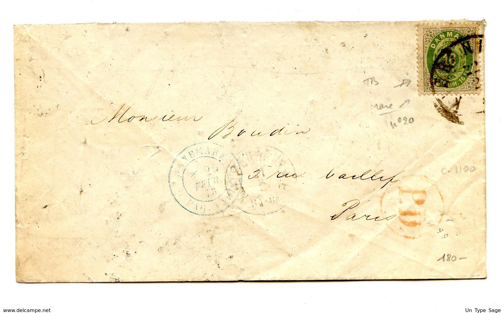 Danemark N°20 Sur Lettre Pour Paris - Cachet D'entrée Bleu - Cote 1100€ - (W1209) - 1864-04 (Christian IX)