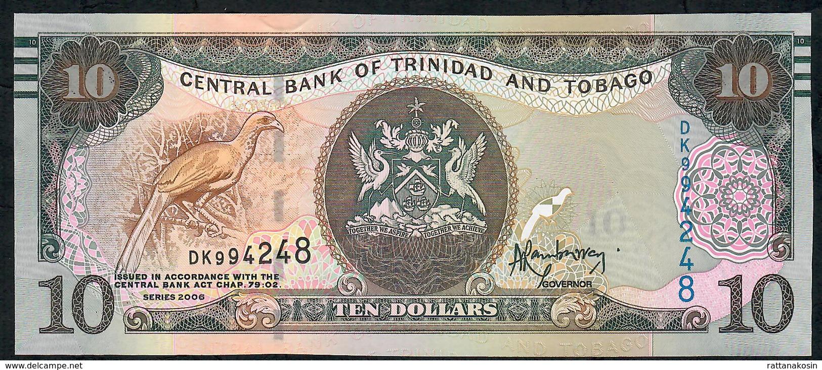 TRINIDAD AND TOBAGO P57a 10  DOLLARS 2006 (2017) #DK Signature 9 UNC. - Trinidad & Tobago