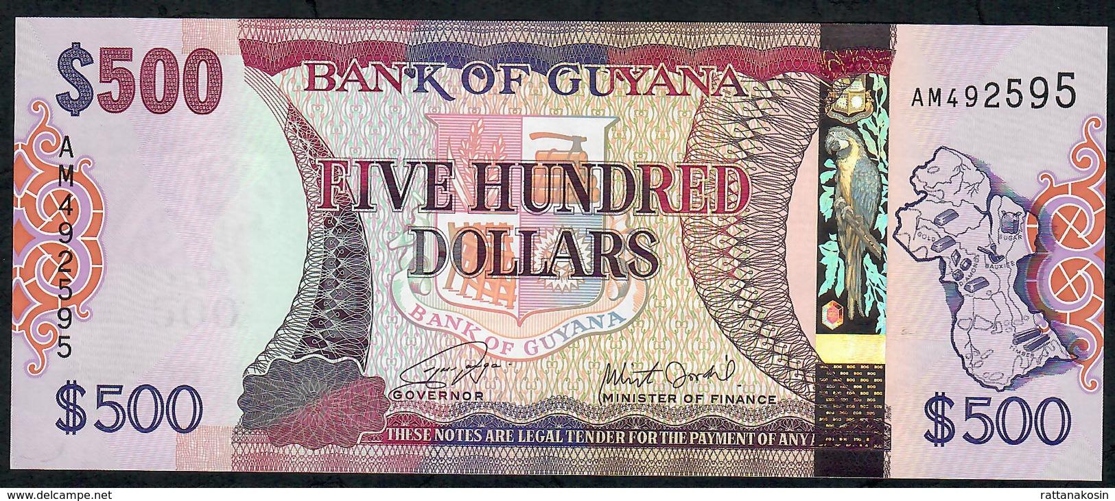 GUYANA P37b 500 DOLLARS (2015) Signature 16 (new Signature ) #AM    UNC. - Guyana