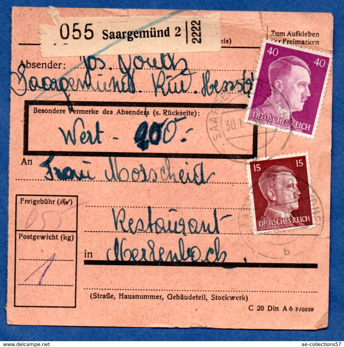 Colis Postal  -  Départ Saargemünd 2  -  01/2/1943 - Germany