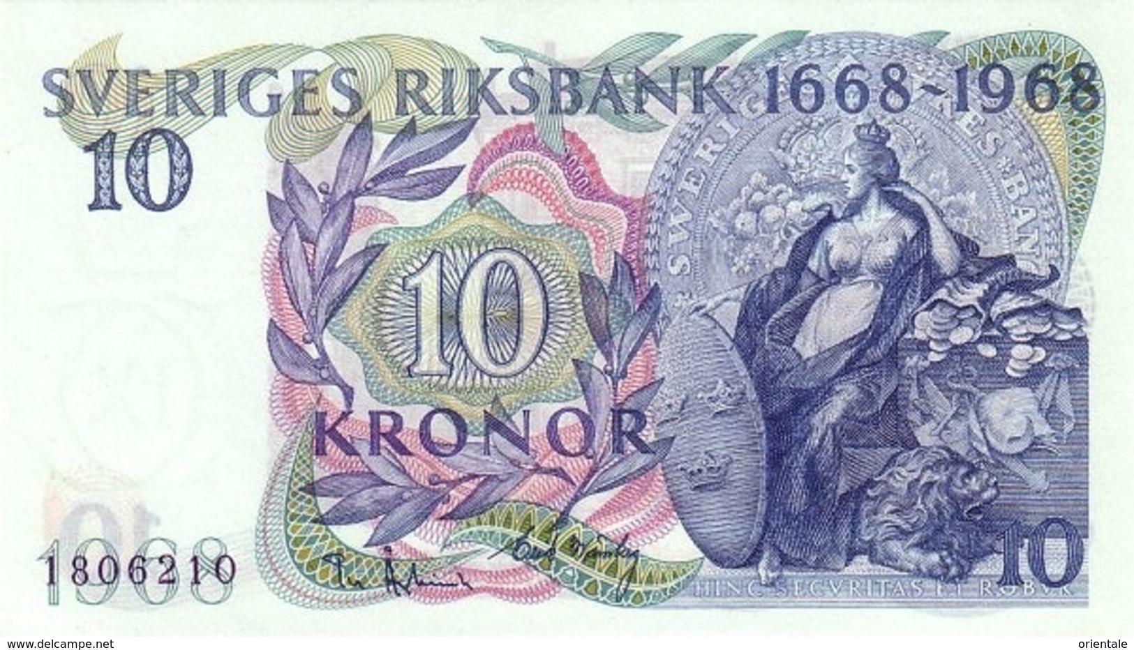 SWEDEN P. 56a 10 K 1968 UNC - Suède