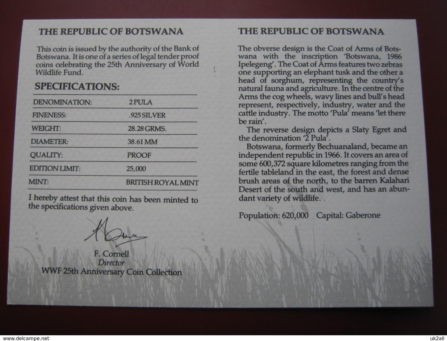 Botswana 1986 2 Pula Silver Proof Coin WWF With COA Card - Slaty Egret - Botswana