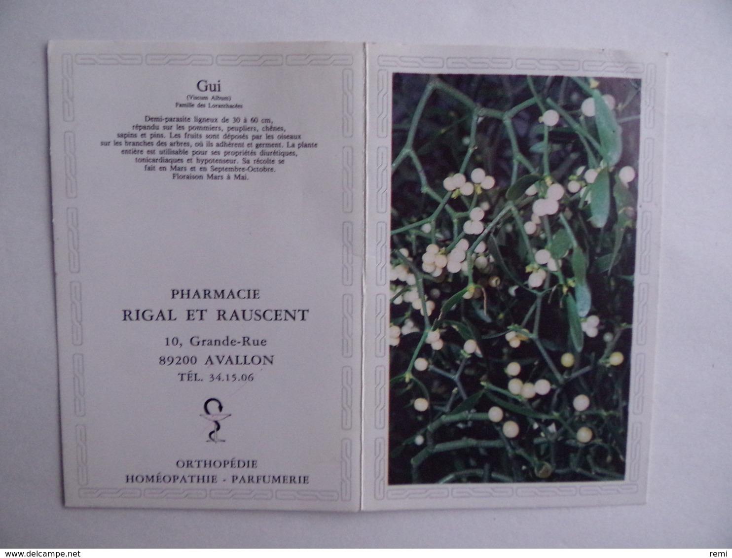 CALENDRIER De POCHE 1984 Gui Publicité PHARMACIE RIGAL & RAUSCENT à AVALLON 89 - Calendars