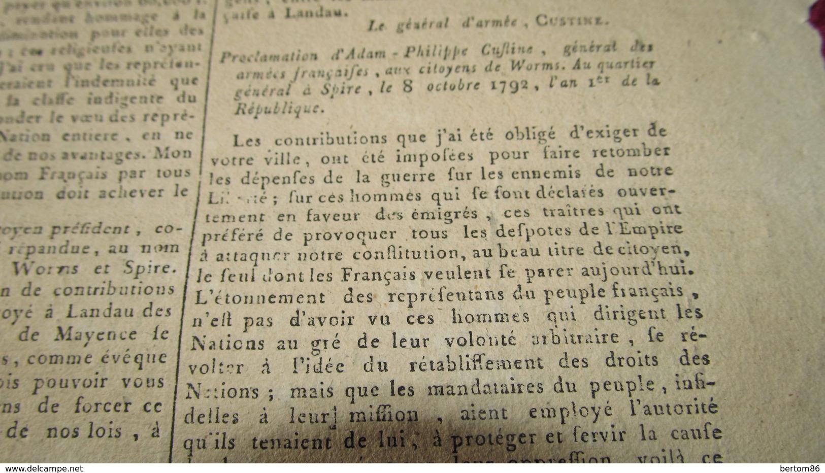 ADAM-PHILIPPE DE CUSTINE AU QUARTIER GENERAL DE SPIRE / SPEYER - LETTRES / PROCLAMATION - OCTOBRE 1792. - Newspapers