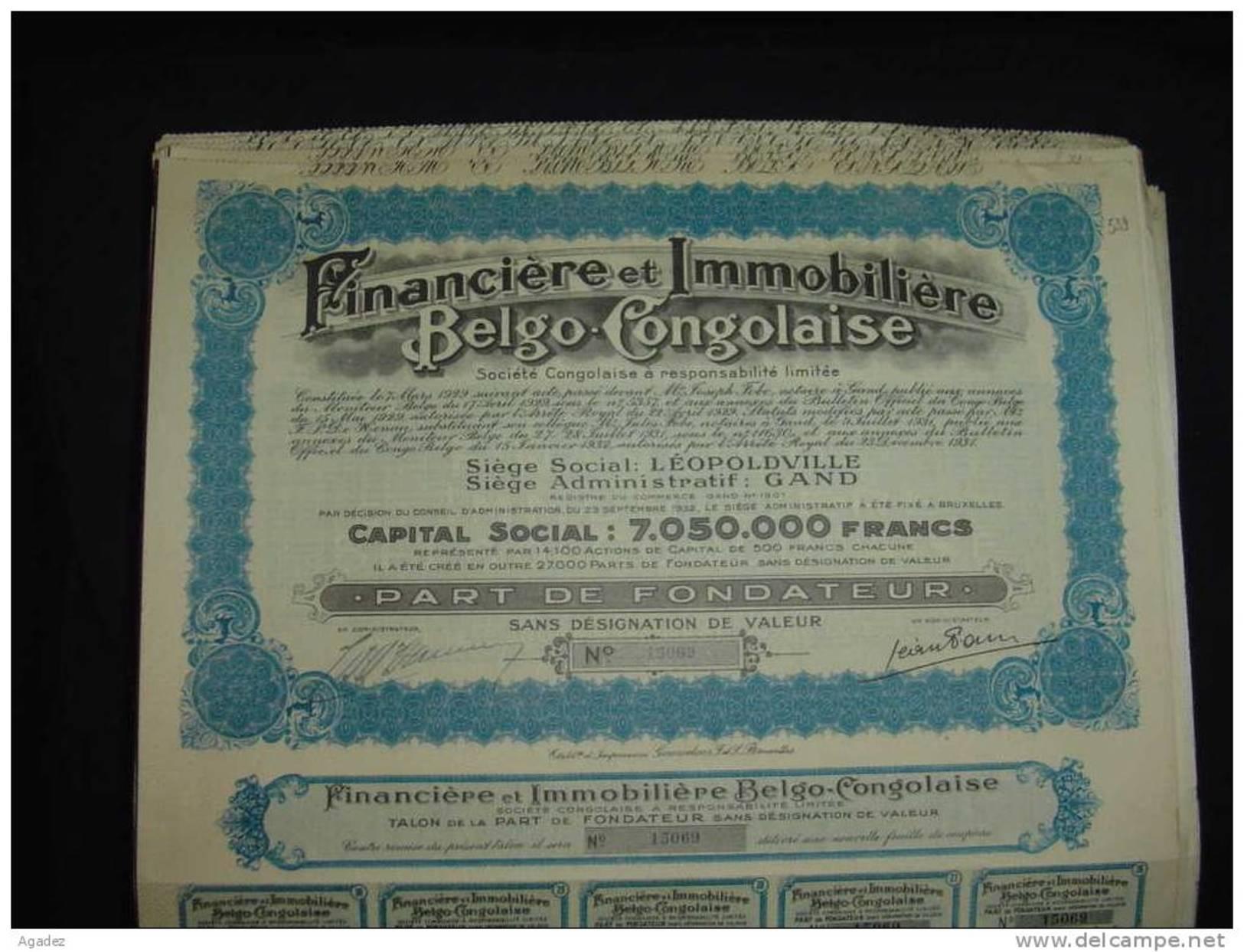 """Part Fond.""""Financière Et Immobilière Belgo Congolaise""""Leopoldville Gand ,1931. - Afrique"""
