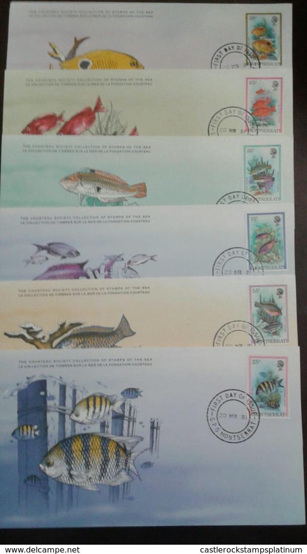 O) 1981 MONTSERRAT, FISHES -YELLOW DAM SELFISH -BIGEYE -CLOWN WRASSE-CREOLE WRASEE-STRIPED PAR ROTFISHE,FDC XF - Montserrat