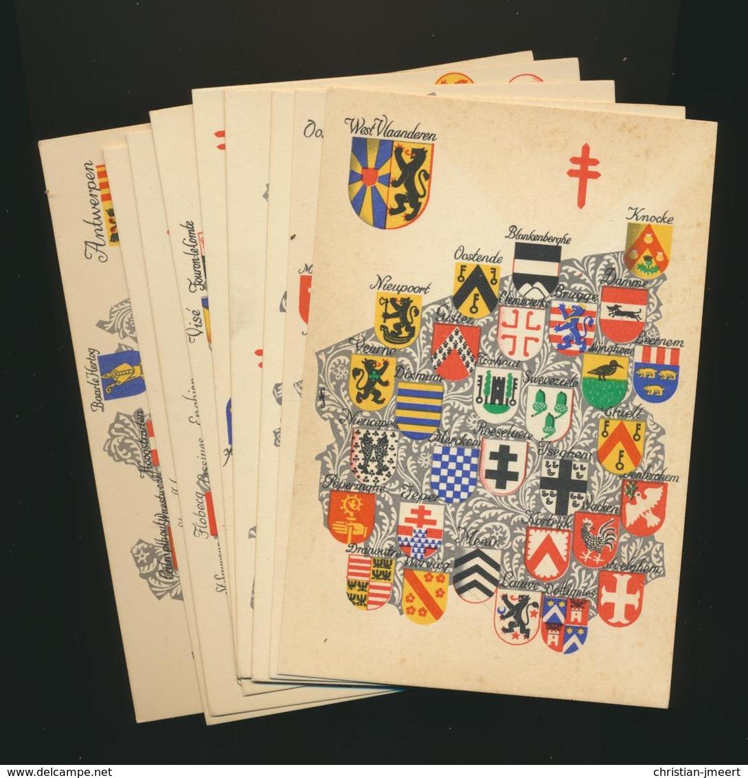 """9 Cartes """"Armoiries Des Provinces Belges"""" Non écrit - Prix Réduit - Belgique"""