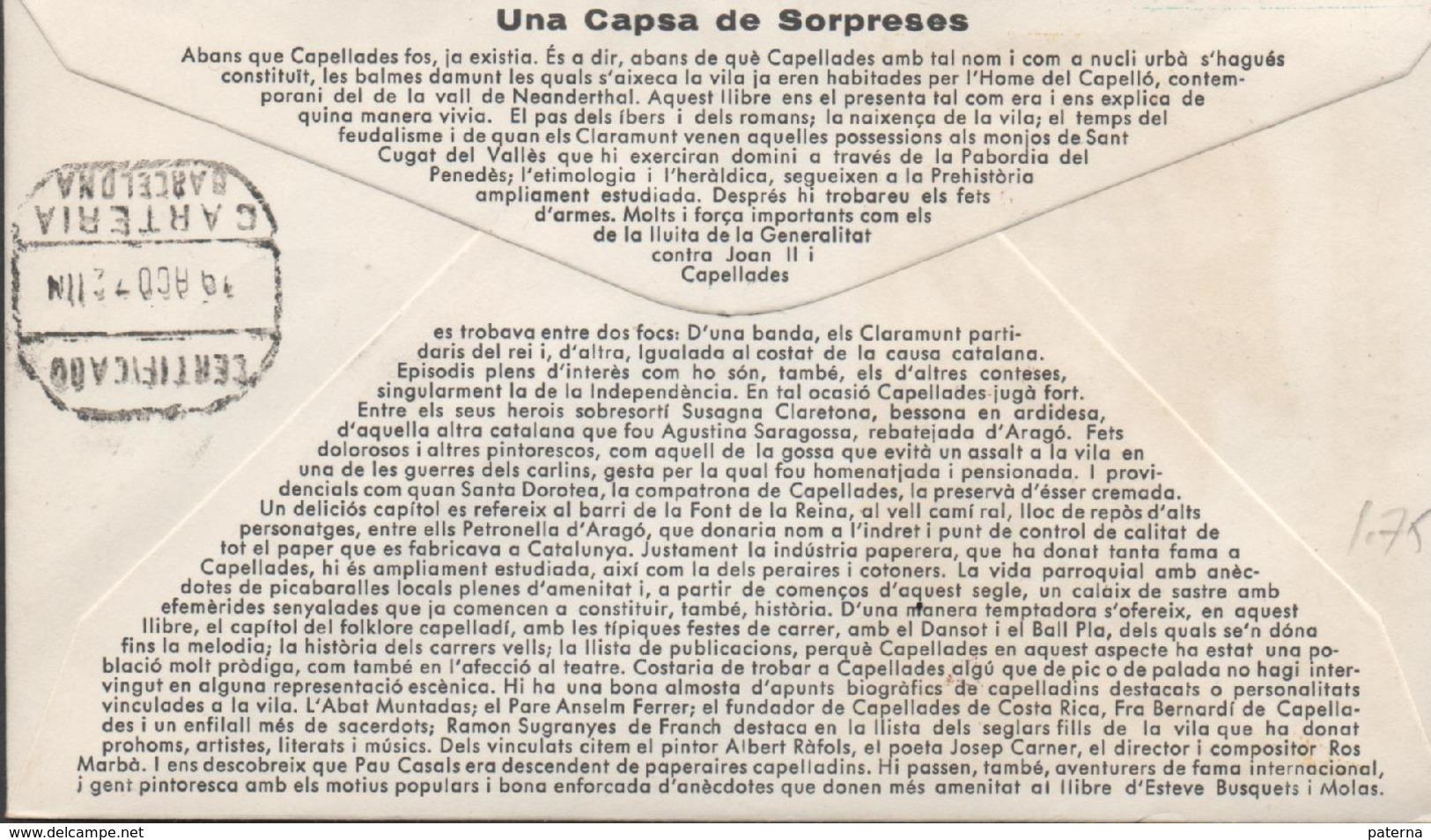 3361  Carta Certificada Capellades 1972, Año Internacional Del Libro, Carteria Barcelona - 1931-Aujourd'hui: II. République - ....Juan Carlos I