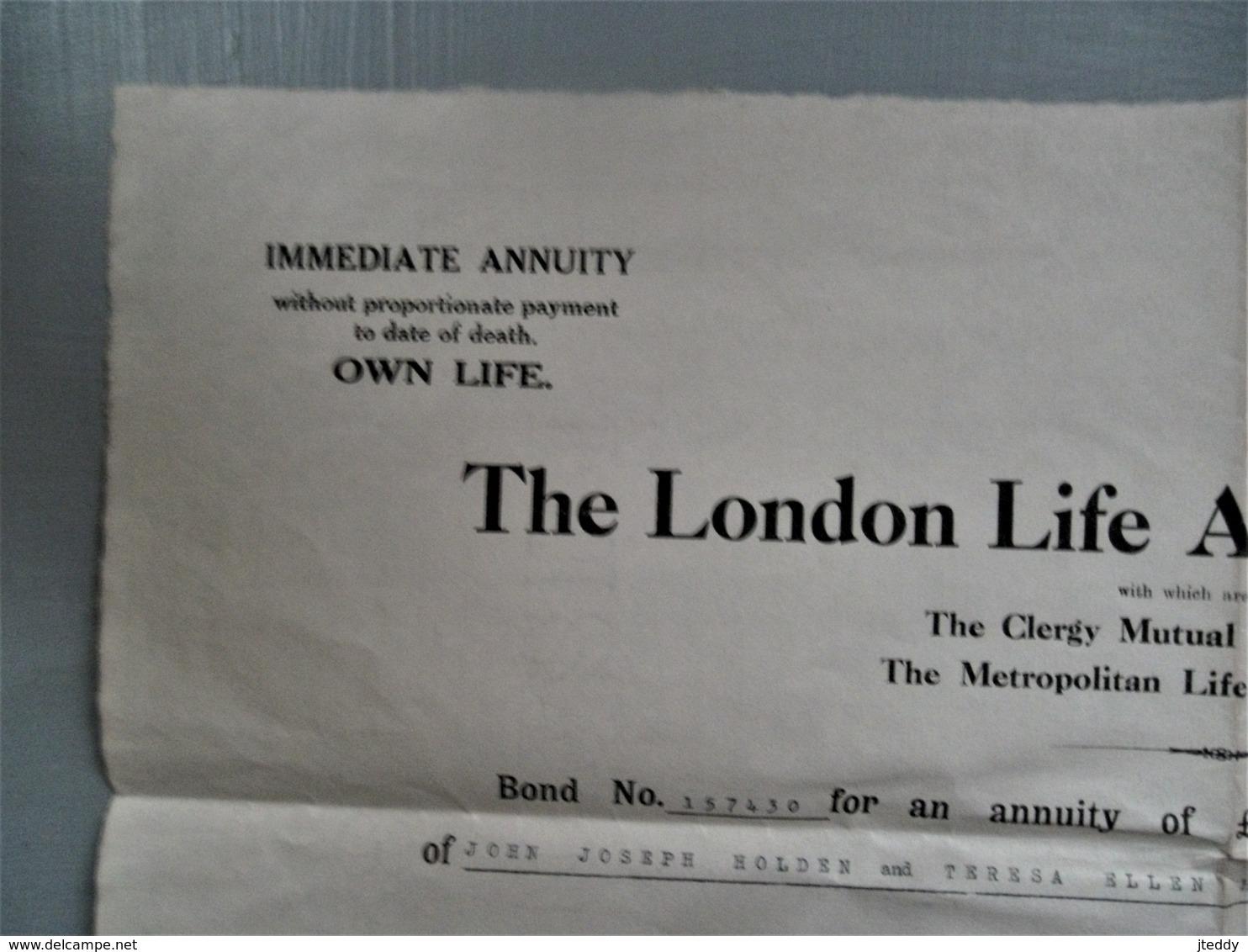 Oud Levensverzekerings  Bewijs   THE  LONDON  LIFE ASSOCIATION  LIMITED   Watermerk 1932  Engeland - Royaume-Uni