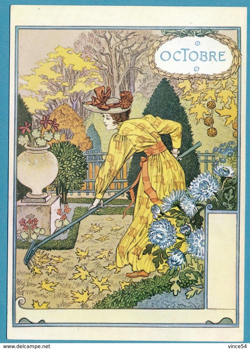 Eugène GRASSET - La Belle Jardinière - Octobre - Malerei & Gemälde
