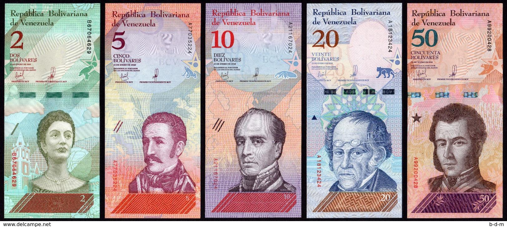 Venezuela Set 2 5 10 20 50 Bolívares 2018 Pick New Design SC UNC - Venezuela