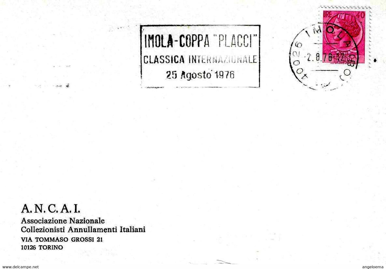 ITALIA - I976 IMOLA (BO) COPPA PLACCI Classica Internazionale Di Ciclismo Annullo Meccanico A Targhetta - Ciclismo