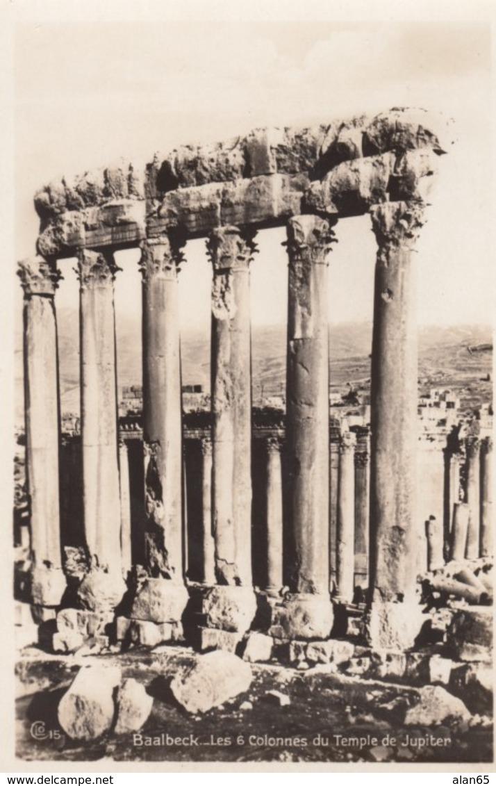 Baalbeck Lebanon, Temple Of Jupiter Ruins C1920s/30s Vintage Real Photo Postcard - Lebanon