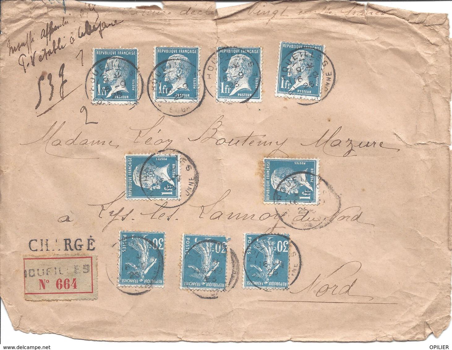 DEVANT DE LETTRE CHARGE HOUEILLES 16 9 1926 Tarif 6.90F 6x N° 179 Et 3x N° 192 Semeuse VD 20000F Poids 53g TAXE ??? - 1922-26 Pasteur