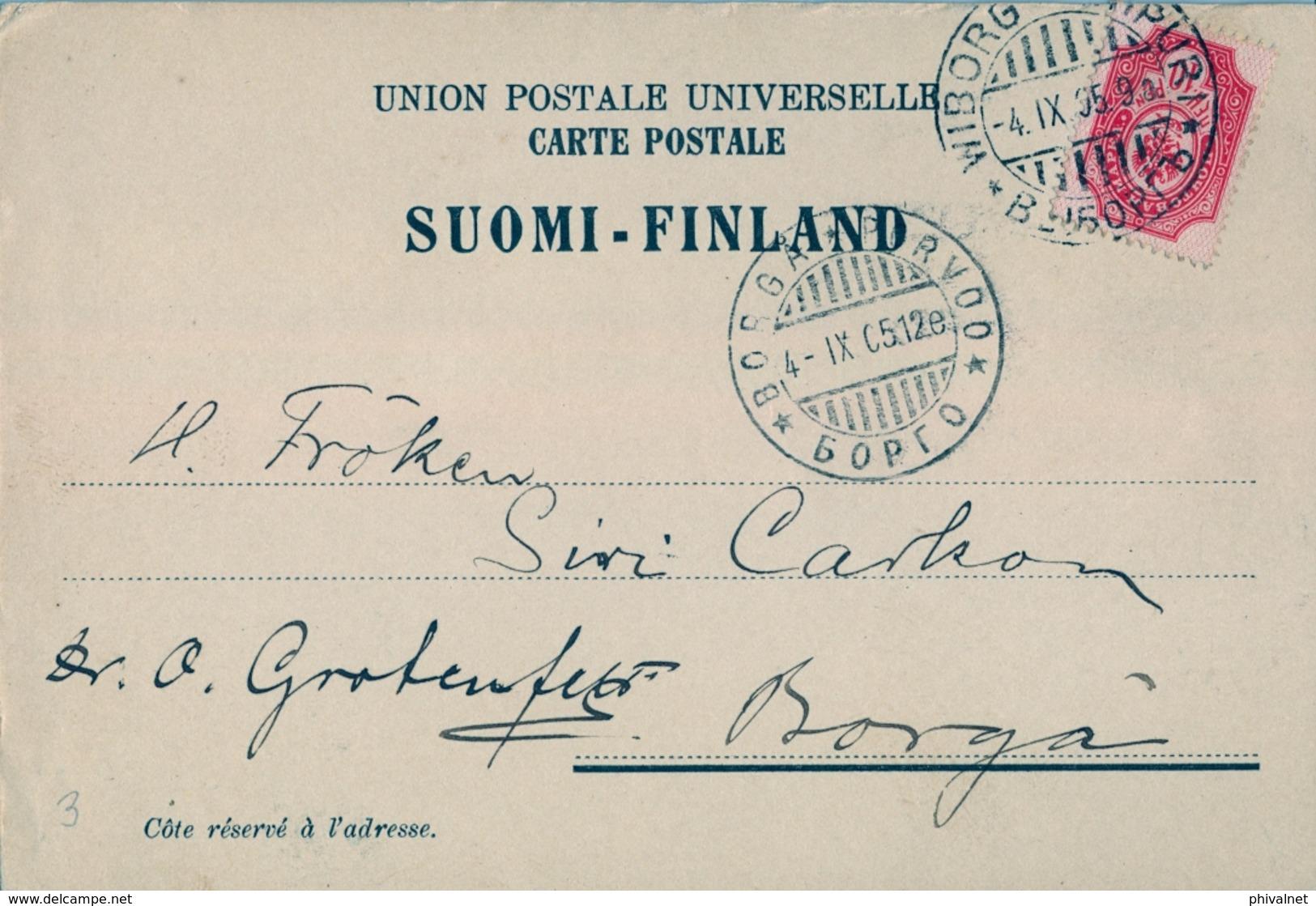 1895 FINLANDIA ,  TARJETA POSTAL CIRCULADA , WIBORG - BORGA , LLEGADA - Briefe U. Dokumente