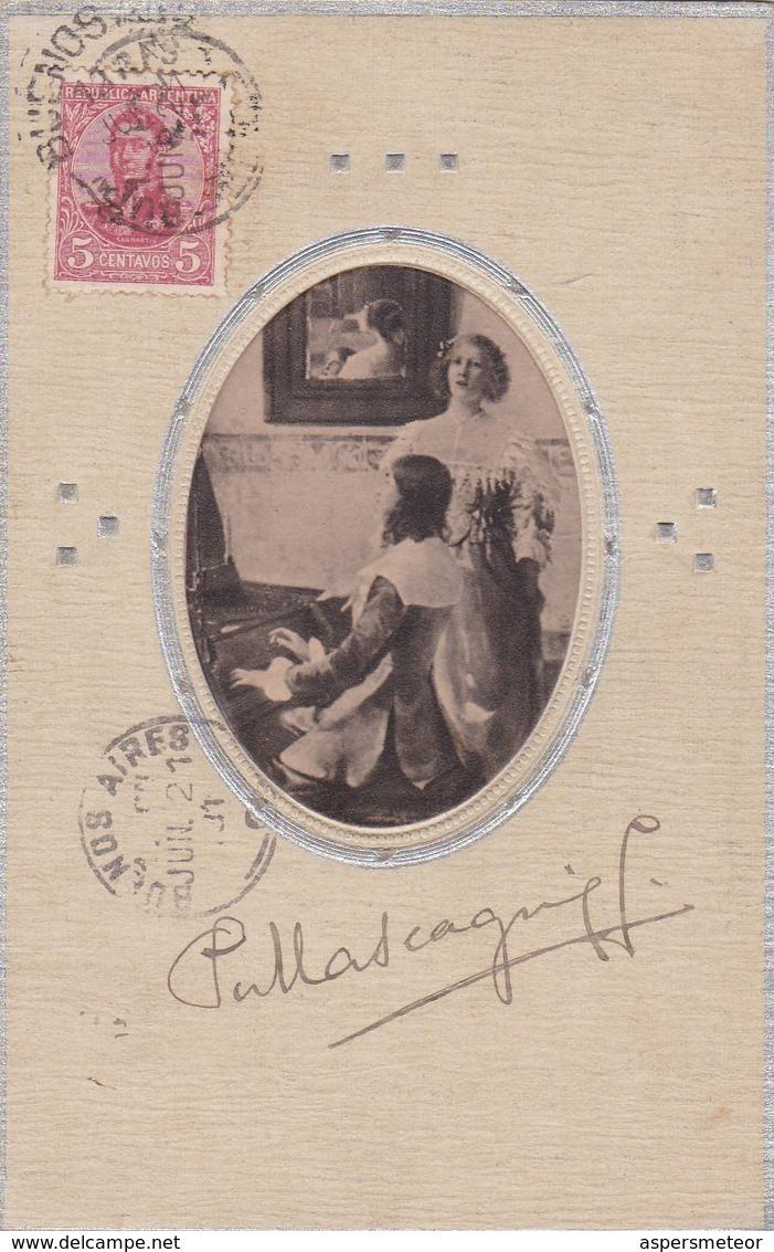 PIETRO MASCAGNI, AUTOGRAFO DI COMPOSITORE  SUL CARTOLINA CIRCOLATA 1921 BUENOS AIRES A FAMIGLIA LOUSTALAN-TBE - BLEUP - Autógrafos
