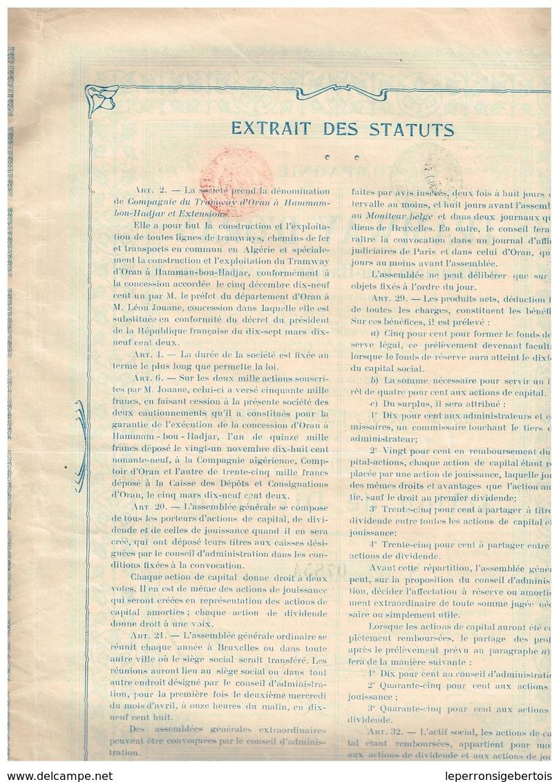Action Ancienne - Tramways D'Oran à Hammam-bou-Hadjar Et Extensions - Titre De 1907 - N° 07854 - VF - Chemin De Fer & Tramway