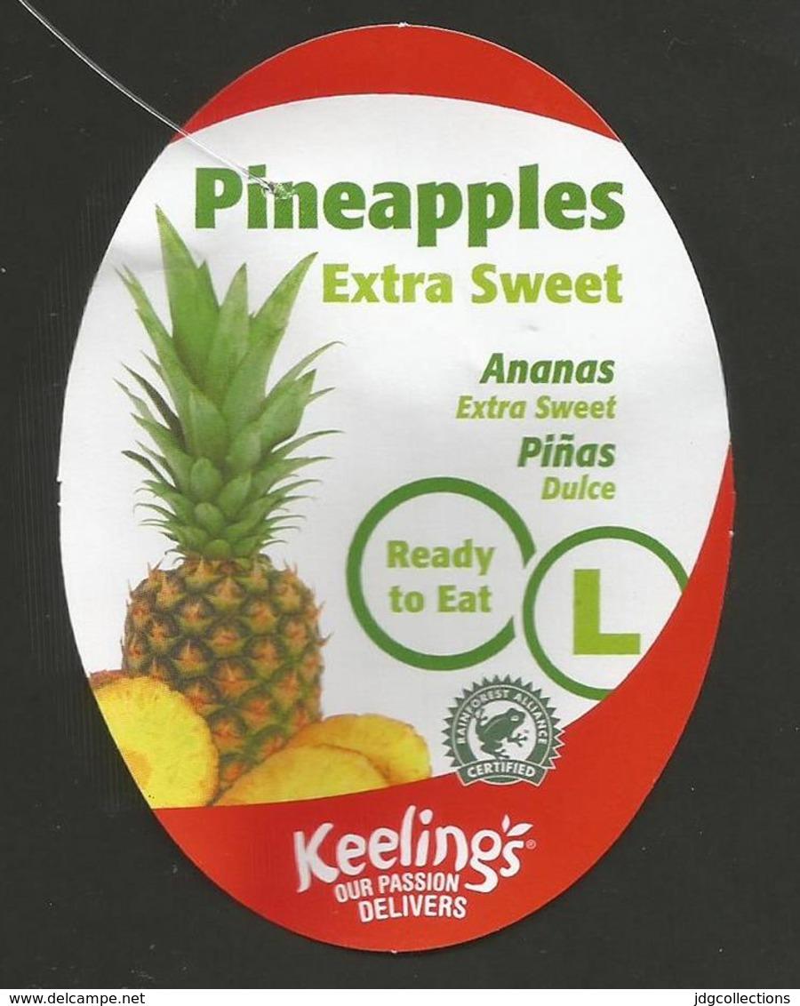 "# PINEAPPLE KEELING'S IRELAND EXTRA SWEET CALIBRE ""L"" Fruit Tag Balise Etiqueta Anhanger Ananas Pina Costa Rica - Fruits & Vegetables"