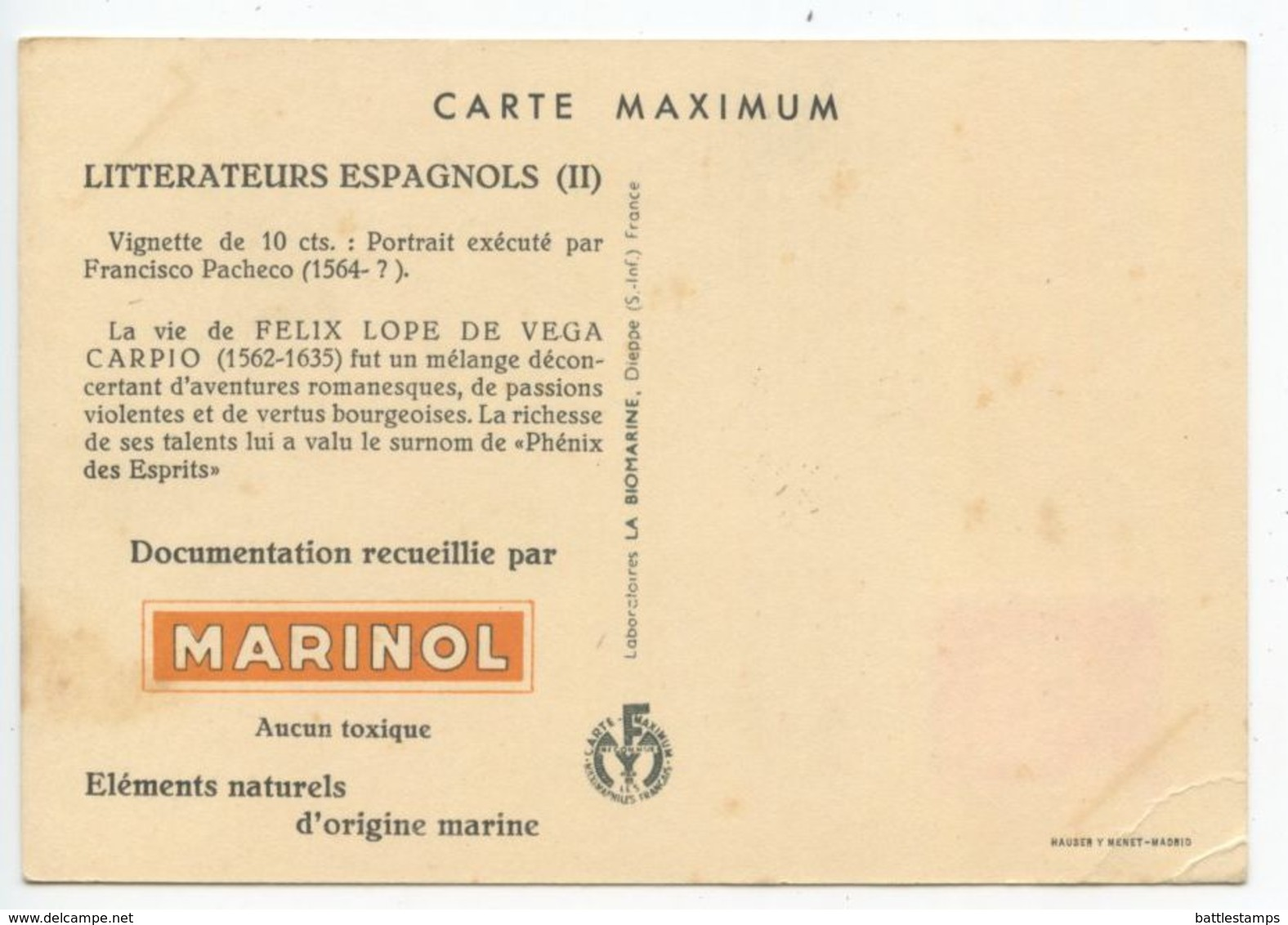Spain 1954 Marinol Pharmaceutical Advertising Postcard Of Felix Lope De Vega, Sc. 773 - 1951-60 Cartas