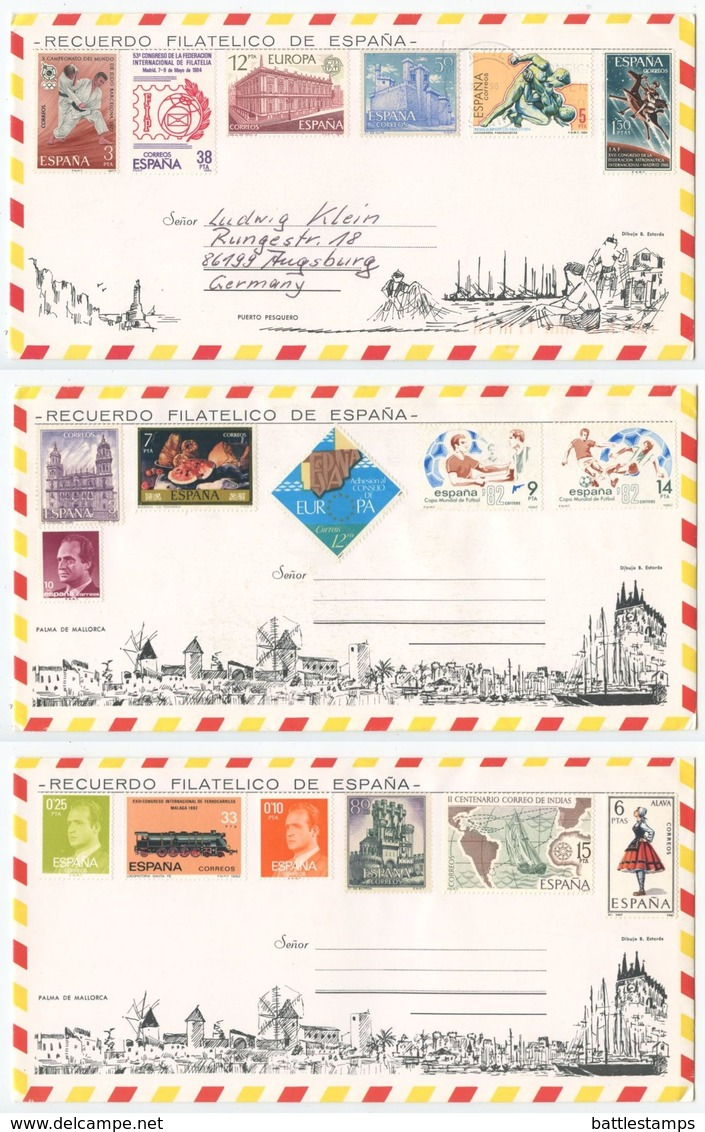 Spain 1990's 3 Stamped Tourist Envelopes With 18 Different Stamps - 1991-00 Cartas