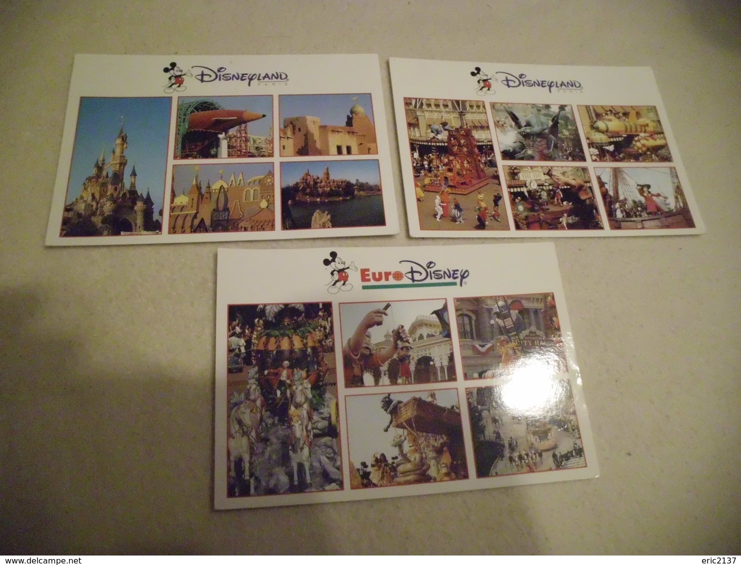 LOT DE 3 CARTES EURO DISNEY ..DISNEYLAND PARIS ...MULTI VUES - Disneyland