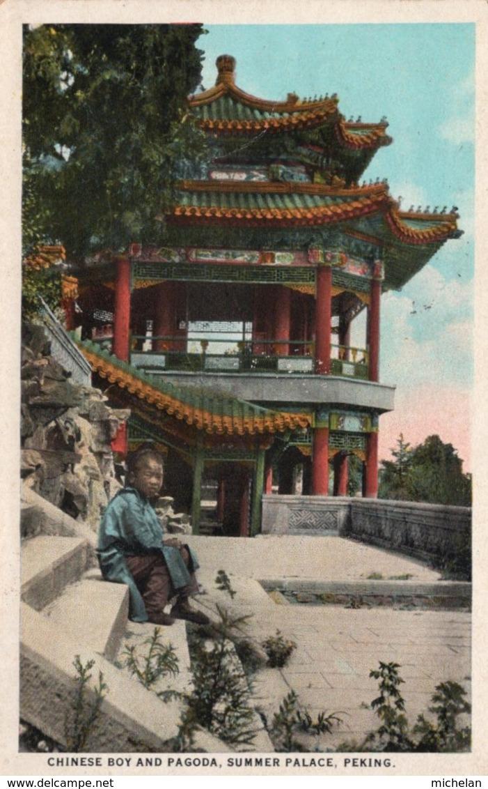 CPA   CHINE---PEKING---CHONESSE BOY AND PAGODA, SUMMER PALACE---TIMBRE AU VERSO ? - China